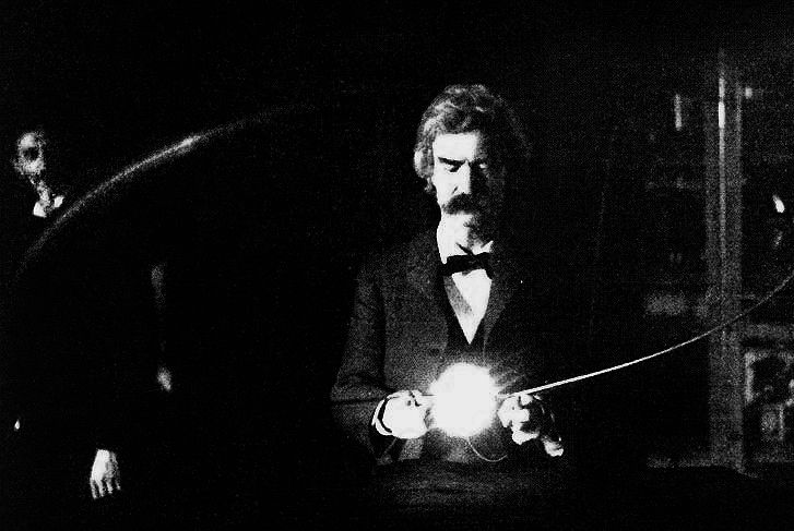 My brain is only a receiver, in the Universe there is a core from which we obtain knowledge, strength and inspiration. I have not penetrated into the secrets of this core, but I know that it exists.    —Nikola Tesla  Photograph: Mark Twain in the lab of Nikola Tesla, spring of 1894.