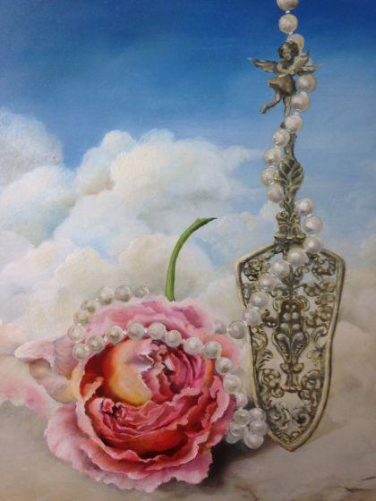 Slice of Heaven painting. Oil on Gessoed Italian Panel