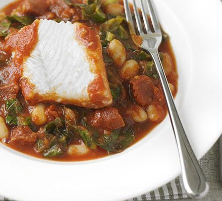 White fish with spicy beans and chorizo recipe - Recipes - BBC Good Food