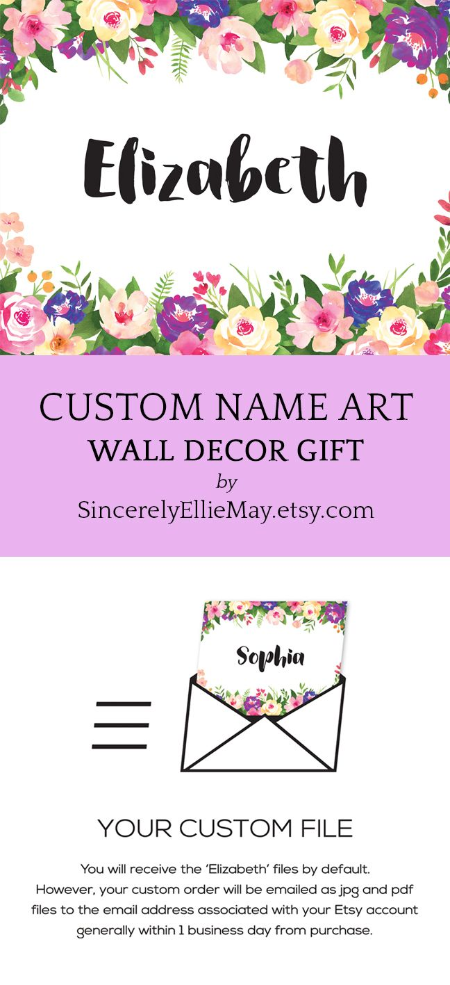 Request For A Custom Name Created From This Lovely Floral Wall Art Custom Personalized Names Digitalart Printa Floral Wall Art Name Design Wall Art Decor