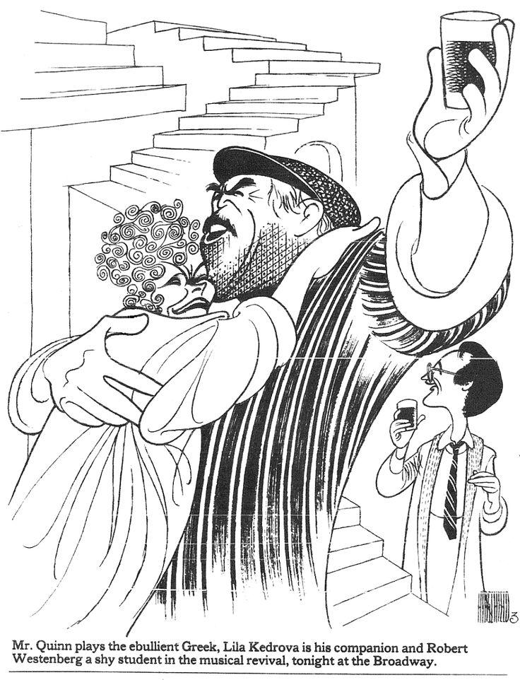 "Al Hirschfeld ~ Anthony Quinn, Lila Kedrova, and Robert Westenberg in ""Zorba the Greek"""