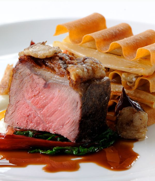 The irony salsify and rootsy mushrooms are a perfect accompaniment to the sweet, sticky shallots and rich meat in this sirloin of beef recipe from Robert Thompson. This dish works best when the beef is cooked medium rare and has a beautiful pink colour.