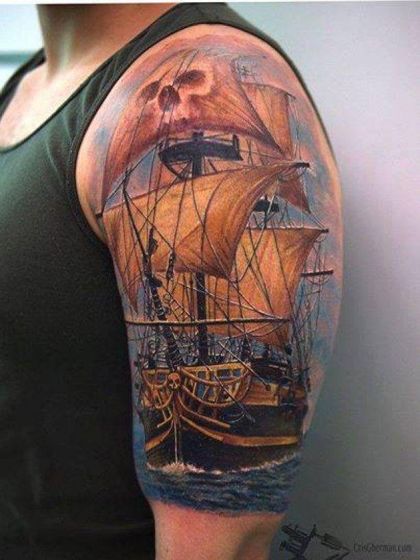 Oberarm Schiff Tattoo Motiv                                                                                                                                                     Mehr