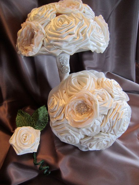 Satin Ivory/Voile Fabric Flower Bouquet  by RocheleauDesigns, $160.00