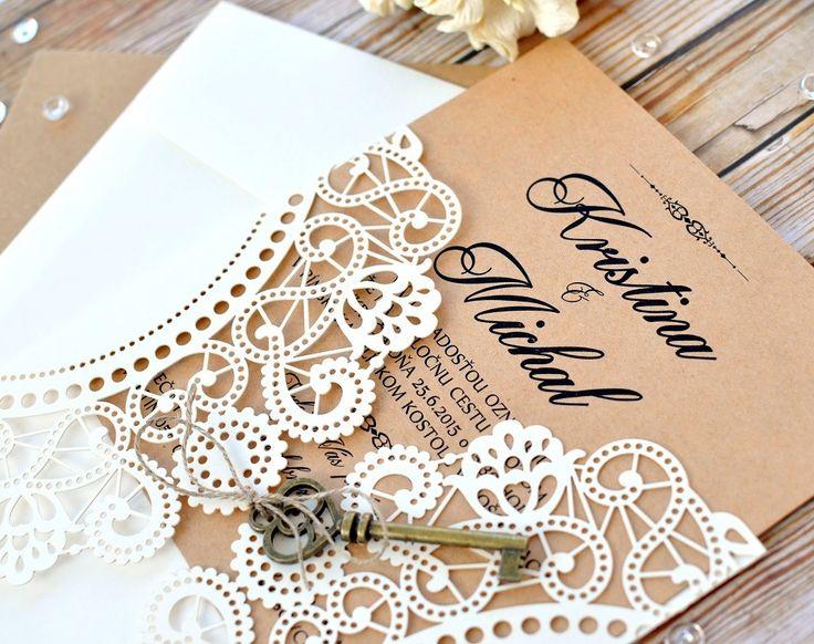 Doily Ivory Key laser cut wedding invitation