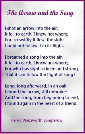 The Arrow and the Song.....Henry Wadsworth Longfellow I want this on the living room wall somewhere somehow