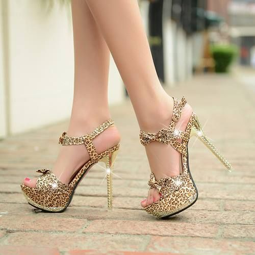 2014 new free shipping 14cm ultra high heels women pumps platform Leopard buckle sexy thin heel party prom shoes woman sandals