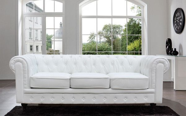 Classic Scroll Arm Tufted Bonded Leather Chesterfield Large Sofa, White