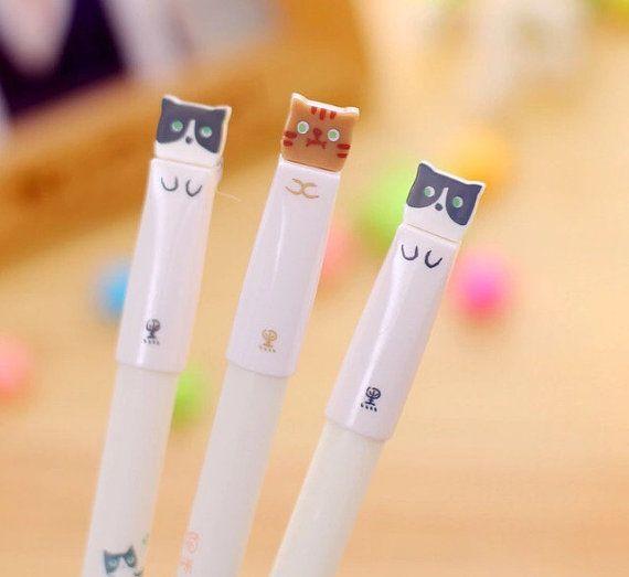 Set of 3 Cute Kitten Pens, School Supply, Planner Supply, Office Supply, Ballpoint Pens, Cute Pens, Animal Pens, Fine Point, Gel Pens