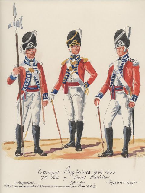 Troupes Anglaises ; 1792-1800. 7th.Foot or Royal Fusiliers. sergant, officer, sergant-major.