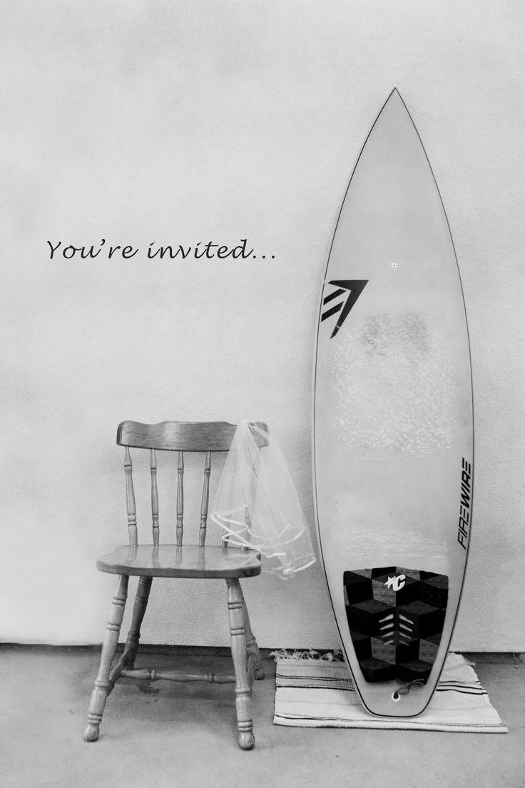 Surfer wedding invitation #surfboard #veil Designed by Lauren Alisse Photography