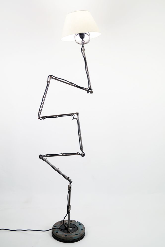 Trajectory, Light sculpture made by artist Yiannis Dendrinos, Welded metallic parts, Anti-rust varnished for indoor use, Wire, support, EU plug and shade included, Size: retractable height and shape, 60x60cm diameter and height up to 60cm