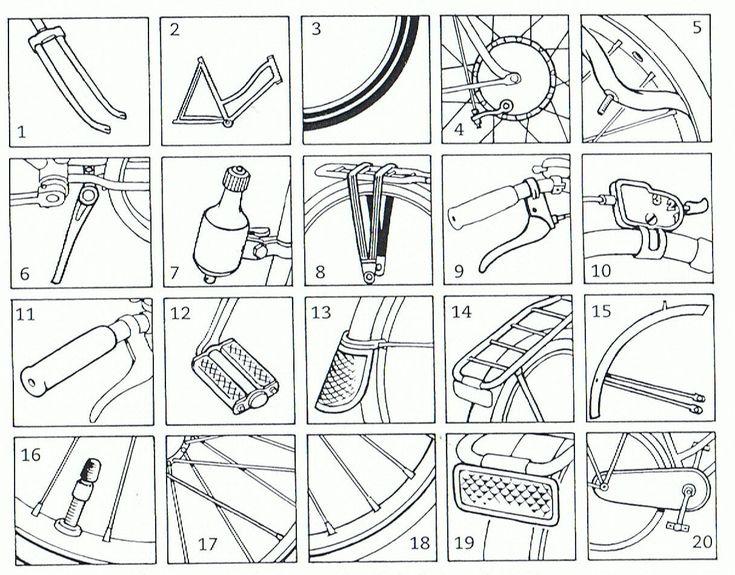 werkblad met onderdelen van de fiets