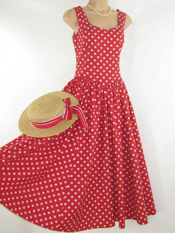 LAURA ASHLEY VINTAGE SCARLET RED POLKA DOT SUMMER / OCCASION DRESS, 10/12 #LAURAASHLEY #60sSTYLESUMMEROCCASIONTEADRESS #Casual