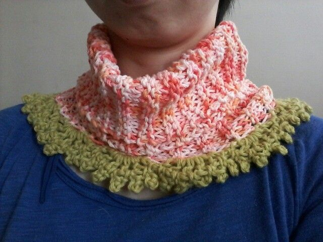 collar scarf orange & green