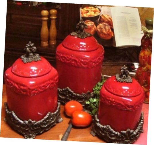 French Country Red Kitchen Canisters Curving Red Kitchen Canisters