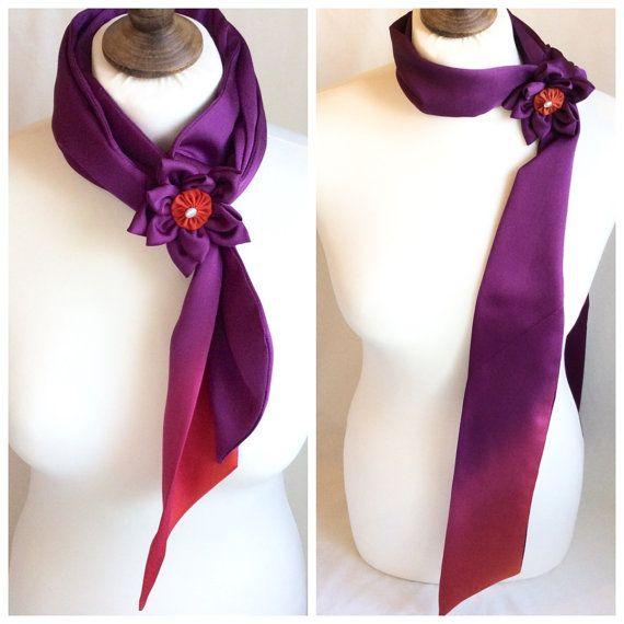 Silk scarf made from vintage Japanese kimono by BlueLilyMagnolia