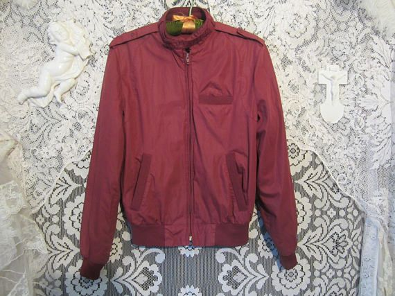 Maroon Bomber Jacket 80's Early 90's Men's Small Retro Mod Punk Hipster New Wave Post Punk Red Moto Jacket Norm Core Burgundy Unisex Coat