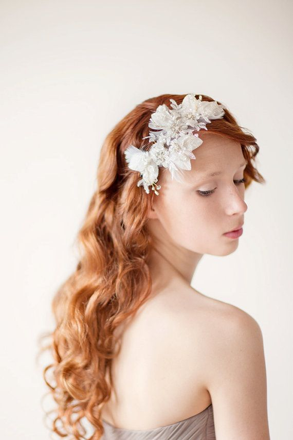Bridal Headpiece, Lace Hair Piece, Wedding Hair Accessory, ivory, gold, velvet - Leaves of Love