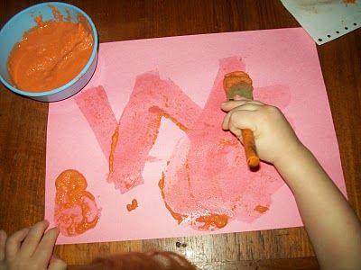Painting with carrot pureeCarrots Tops, Kids Art, Kristen Kids, Carrots Puree