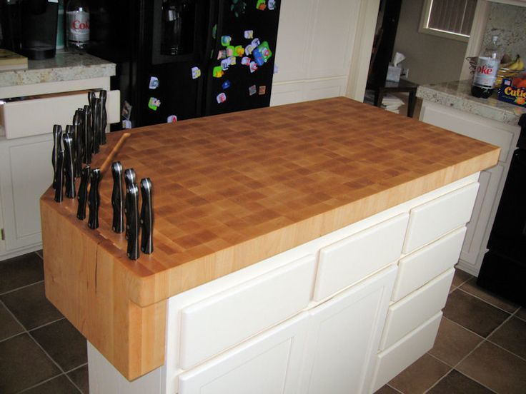 custom builtin knife block on butcher block work island eclectic products austin devos custom woodworking