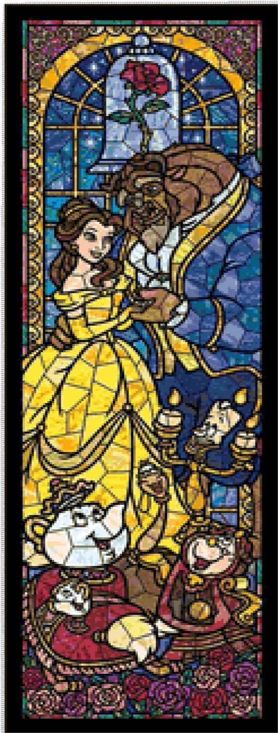 BUY 2, GET 1 FREE! Beauty and the Beast Disney Stained Glass 025 Cross Stitch Pattern Counted Cross Stitch Chart Pdf Format Instant Download