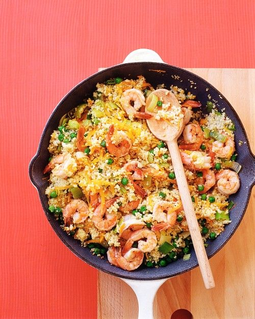 shrimp with couscous - i replaced leeks with onion, water with chicken broth, peas with corn, and left out the mustard seeds. instead i added saffron to the broth.