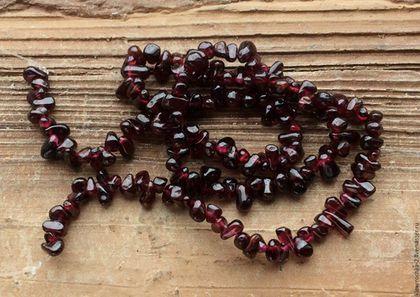 Гранат капли 5-7 мм - нить 20 см гладкие бусины камни для украшений. Handmade.