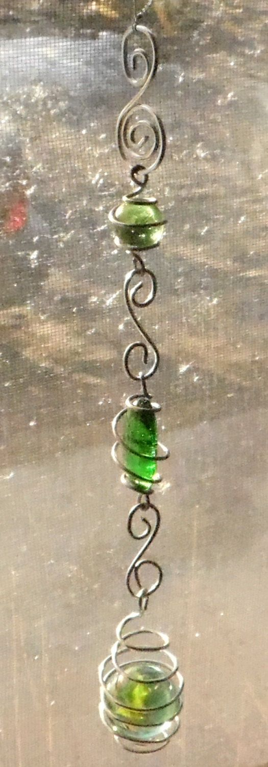 Green Marble Swirliing Wire Wrapped Sun Catcher by brambleoak