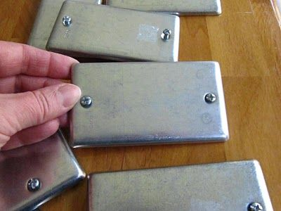 Turn galvanized switch plate covers into ID plates for everything.   Modern-looking tack trunk plates!