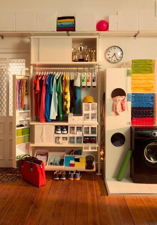Laundry room, hobby room storage and laundry bins