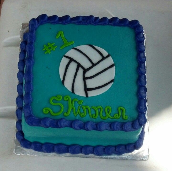 Teal & purple volleyball cake