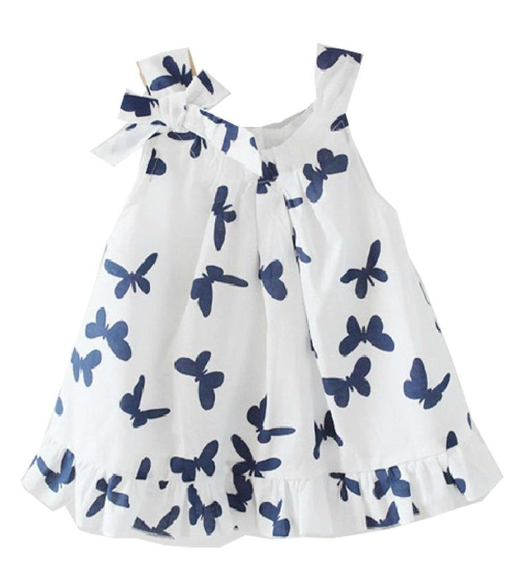 Lovely Baby Girls Kids Toddlers Casual Top Butterfly Bowknot Cotton Dress