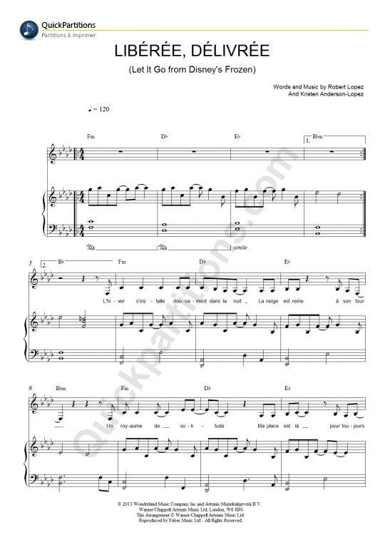 Partition Piano Libérée, Délivrée (Let It Go) - La reine des neiges