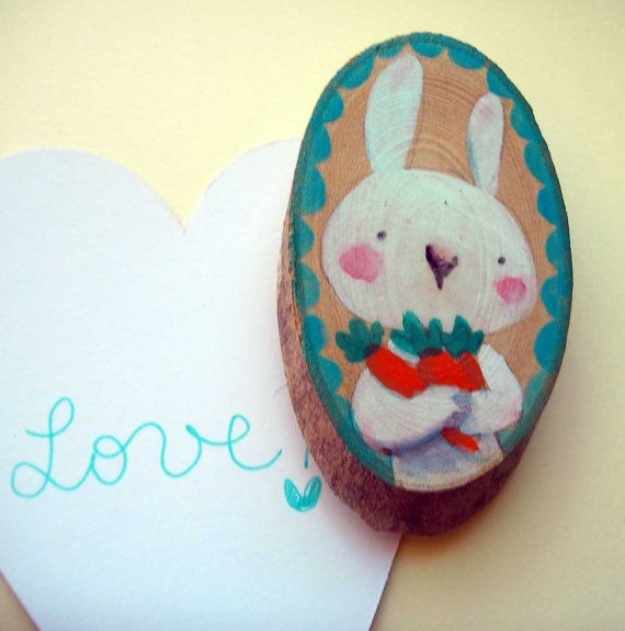 wooden magnet for your fridge hand painted Funny by violinoviola, $10.00