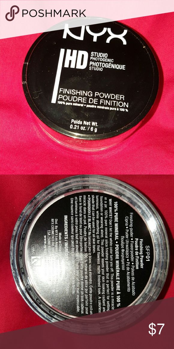 NYX HD finishing powder Used for setting foundation with a matte look, absorbs oil so it leaves you with a non greasy face.. This is brand new in package and works great!! NYX Makeup Face Powder