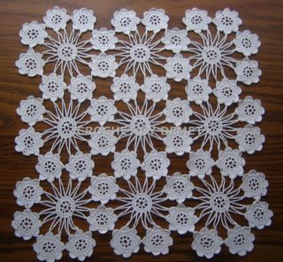 TURKISH LACE-CROCHET WORK BY DEMET: WHITE, SQUARE,MINI FLOWER DOILY