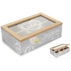 Scatola porta tè in legno 6 scomparti coperchio vetro shabby chic