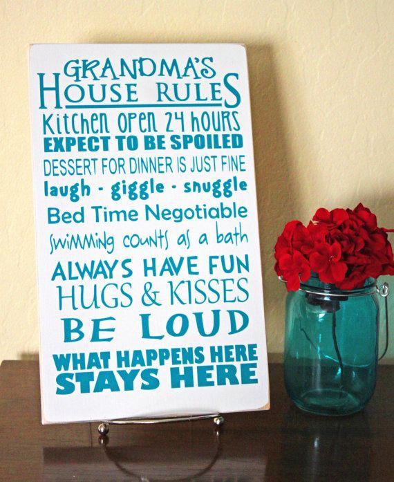 Grandma's House Rules Wall Sign - Gifts For Grandma -Custom Wood Sign - Wood Board Home Decor 8x12