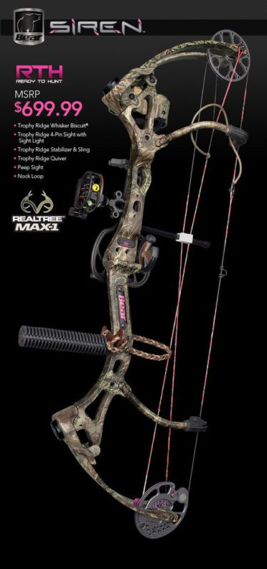 New 2013 Bear Archery SIREN Womens Compound Bow RTH Package 50 lbs RH