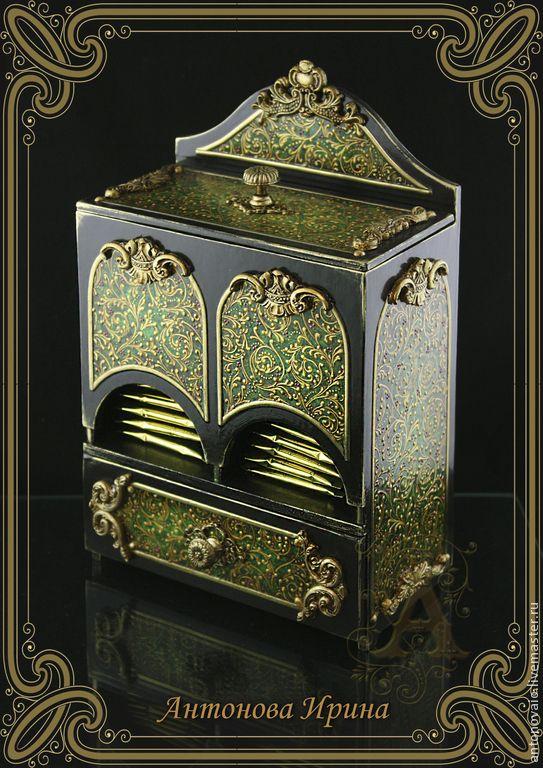 """Купить Комод чайный-""""Сказочный лес"""" - зеленый, комод декупаж, чайная коробка, для чая"""