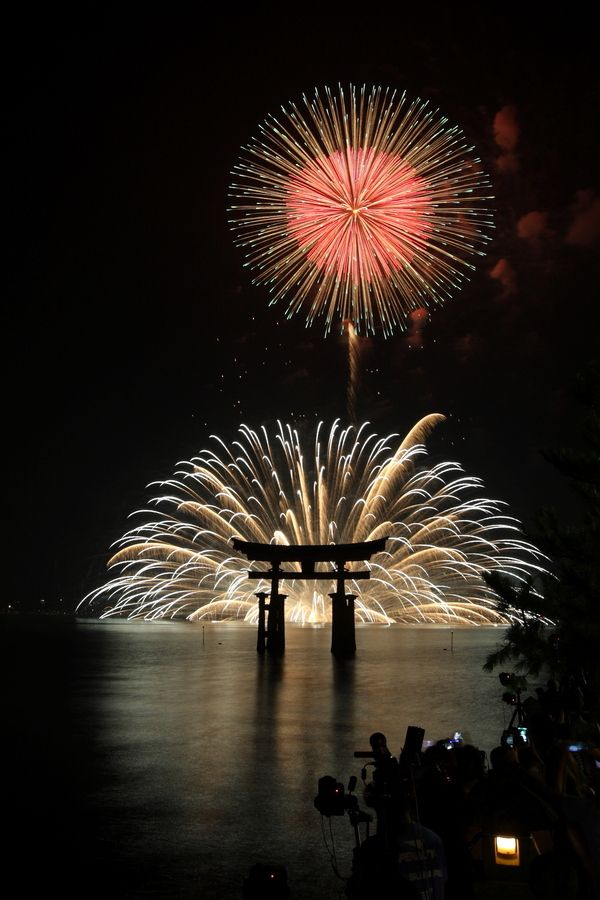 Miyajima Fireworks in front of the shrine is one of the most sought after fireworks