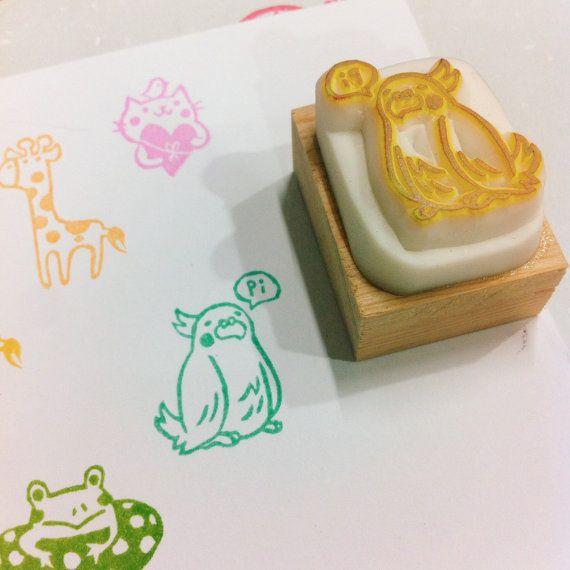 lovebird rubber stamp by DeerdayShop