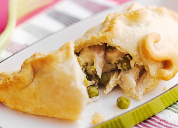 Made for popping into lunchboxes or packing up for a picnic, these mini chicken and pea pasties are simple and quick to make, too
