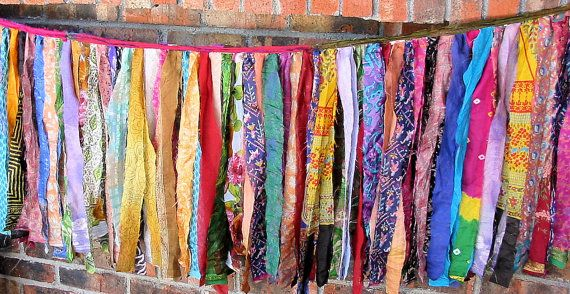 Gypsy Fringe All Sari Exotic Flag Garland By the Foot  by ArtToGo