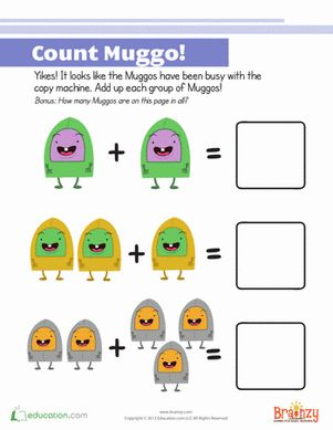 Muggo loves making replicas of himself! Can your child #count and #add up the Muggos? #Brainzy #math #kids