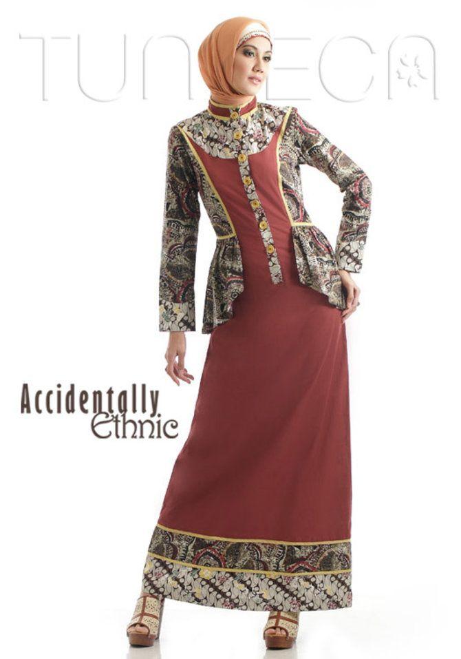 #Batik etnik kombinasi katun berwarna marun, pengen cantik dan terkesan etnik? :)