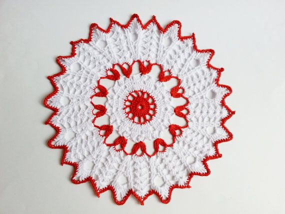 Red and snow white crochet doily cotton by MKedraHandmade on Etsy