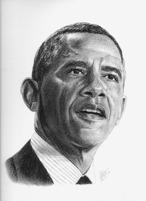 Pencil Drawing of President Barack Obama | Obama portrait ...