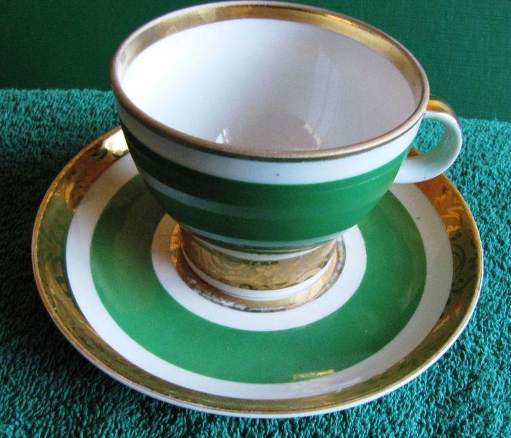 MID CENTURY RUSSIA USSR LOMONOSOV LFZ Green & WHITE 24K GOLD CUP SAUCER